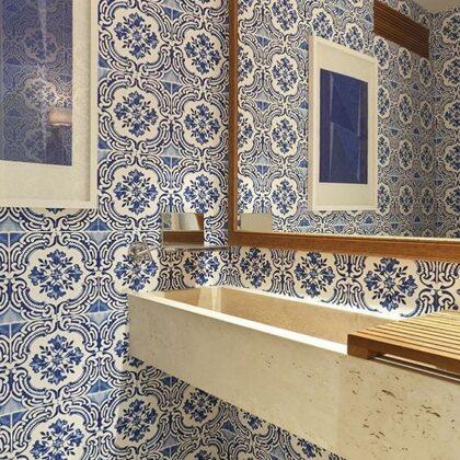 Aplicação azulejo pintado á mão
